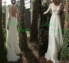 Sexy long sleeves backless wedding gowns wedding por JessicaBridals, $326.00