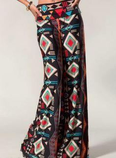 Black Multi Print Wide Leg Pants,  Bottoms, palazzos  palazzo pants  boho  wide legs, Chic