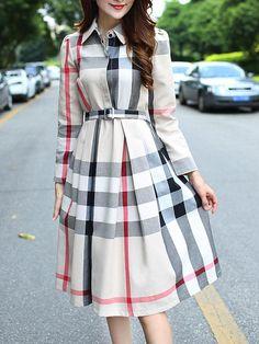cc0e2d08036d6 #Fashionmia - #Fashionmia Classic Turn Down Collar Belt Plaid Maxi Dress -  AdoreWe.com