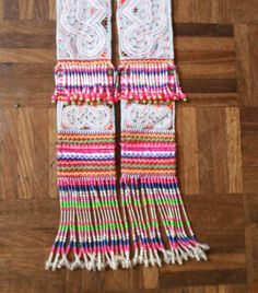 Tribal vintage fabric Hmong Fabric Vintage fabric hand embroidered fabric Hill tribe beadwork and tassels on Etsy, $10.00