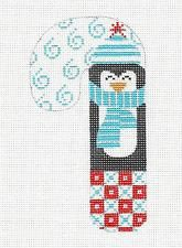 *NEW* MED. Candy Cane Penguin in Blue handpainted Needlepoint Canvas Danji