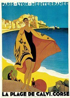 CALVI, Corsica, France. Vintage Art Deco Travel Poster