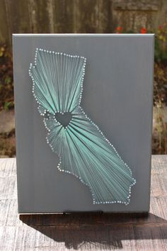 California State String Art - any state available - silver nails - bay area - san francisco - home good - wedding - anniversary - birthday by InspiredByAdventure on Etsy https://www.etsy.com/listing/245064072/california-state-string-art-any-state