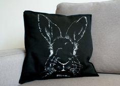Decorative black pillowcase bunny Custom handpainted throw pillow covers Kanninchen Lapin