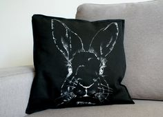 Decorative black pillowcase bunny Custom by KropkaDesign on Etsy