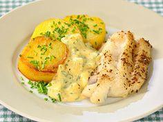 Pečená bílá treska s remuládou Baked Potato, Potatoes, Meat, Chicken, Baking, Breakfast, Ethnic Recipes, Asia, Kochen
