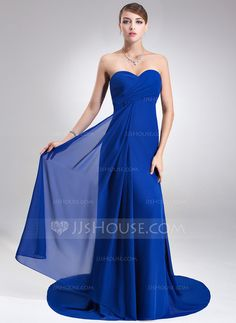Bridesmaid Dresses - $119.99 - Empire Sweetheart Court Train Chiffon Bridesmaid Dress With Ruffle (007022517) http://jjshouse.com/Empire-Sweetheart-Court-Train-Chiffon-Bridesmaid-Dress-With-Ruffle-007022517-g22517