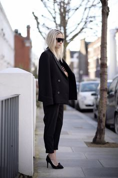H&M Paris Collection coat // ASOS jumpsuit // Isabel Marant heels // Celine sunglasses // Tom Wood rings.