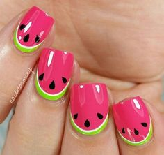 Do you love doing nail art? Are you looking for nail art summer ideas? This post is just what you need! Check out our collection of 'Watermelon Nail Art Designs for Summer below and tell us what you think Cute Summer Nail Designs, Cute Summer Nails, Nail Summer, Summer Pedicures, Cute Nail Art, Cute Nails, Tattoo Pink, Nails For Kids, Girls Nails