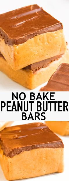 This quick and easy no bake PEANUT BUTTER BARS recipe is made with 5 simple ingredients. These chocolate peanut butter bars are rich and fudgy and great as a healthy snack or dessert. {Ad} From cakewhiz.com