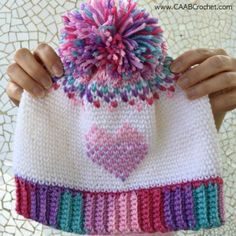 This crochet heart hat pattern is full of color and contrast and neat, tidy rows... making it a real show stopper! Free tutorial includes lots of detailed step-by-step instructions with photos to make the pattern as easy to follow as possible.