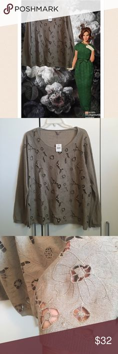 """J. Jill Porcini Cut Out Lightweight Sweater NWT! J. Jill Porcini Cut Out Lightweight Sweater. The color is porcini which is a khaki tan beige color. Excellent condition! Linen/Polyester/Rayon blend. Very soft. Beautiful. Floral pattern with cut outs. You will have to wear something underneath this. Bust 59"""", length 25"""". J. Jill Sweaters Crew & Scoop Necks"""