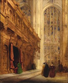 King's College Chapel - Cambridge, 1837 by David Roberts