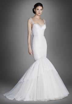 Lazaro  BRIDAL GOWNS, WEDDING DRESSES  FALL 2015 COLLECTION Ivory/Silver Chantilly lace fit and flare bridal gown with cashmere underlay, opal jeweled chandelier necklace accents sweetheart neckline and plunging U back, corset bodice, tiered lace and gathered tulle skirt, chapel train.