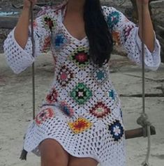 Crochet Blouse, Knit Dress, Crochet Top, Trendy Summer Outfits, Cute Winter Outfits, Granny Square Crochet Pattern, Crochet Patterns, Hippie Crochet, Fashion Now