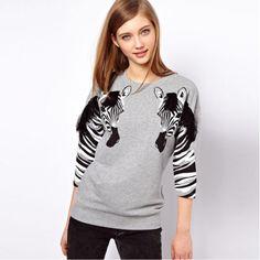 Lady Grey Zebra Prints Pullover Sweater Sleeve Round Neck T-Shirt Tops Z360