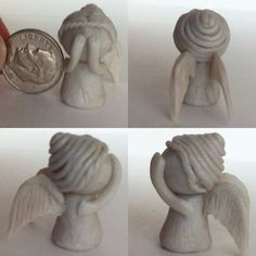 Polymer Clay Doctor Who Weeping Angel Mini Polymer Clay Miniatures, Fimo Clay, Polymer Clay Projects, Polymer Clay Charms, Polymer Clay Creations, Ceramic Clay, Clay Crafts, Kids Crafts, Pottery Angels