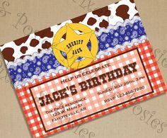 Custom Printable Invitation - Cowboy Sheriff Party Invitation