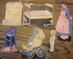 """Vintage Paper Doll Set """"Tot of Two"""" 1930s                                                                                                                                                                                 More"""