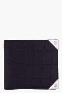 306a5a44129d Alexander Wang Black Croc Embossed Leather Bifold Wallie Wallet for Men |  SSENSE Designer Wallets,