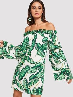 Tropical Print Layered Flounce Sleeve Frilled Bardot Dress Trendy Dresses 607bf7d15