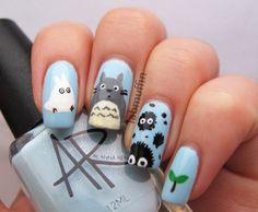 My Neighbor Totoro nail art Cute Nails, Pretty Nails, My Nails, Round Nails, Oval Nails, Miyazaki, Beauty Science, Red Carpet Manicure, Nail Art