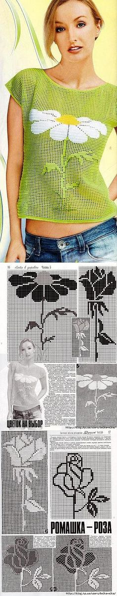 crochet is an you have any in while then you can also see this and make a . Filet Crochet, Crochet Bolero, Pull Crochet, Crochet Gratis, Crochet Motifs, Crochet Diagram, Crochet Blouse, Thread Crochet, Love Crochet