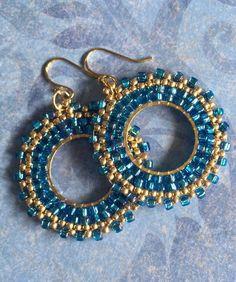 Seed Bead Hoop Earrings  Small Aqua Blue  and Gold Beaded