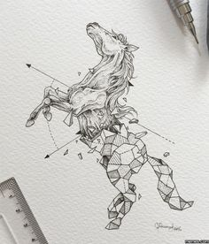 sad eyes, bad guys, mouth full of white lies Horse Drawings, Pencil Art Drawings, Cute Drawings, Animal Drawings, Drawing Sketches, Geometric Drawing, Geometric Art, Geometric Animal, Horse Sketch
