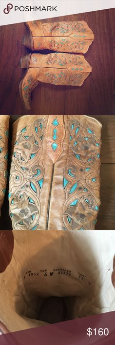 Vintage handmade cowgirl boots Beautiful Vintage Cowgirl boots brown with turquoise ornament original  price $375 Corral Shoes Heeled Boots