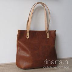 Tote bag BIG city in cognac pull up leather