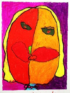 Picasso Faces created by 4 and 5 years old children. Fine art projects for kids on ArtBoxAtelier.com
