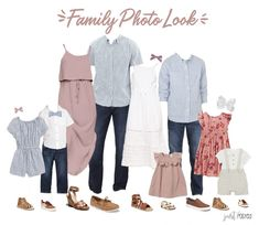 family photo outfits Are you looking for what to wear for family pictures? This light pink, chambray, navy and floral look is perfect! This would also be a great option for beach f Disney Family Outfits, Fall Family Picture Outfits, Spring Family Pictures, Family Pictures What To Wear, Family Picture Colors, Family Portrait Outfits, Beach Picture Outfits, Family Posing, Family Portraits
