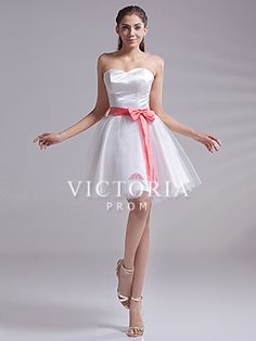 Simple White Ball Gowns Short Tulle Satin Bows Sweetheart Prom Dress - US$ 77.99 - Style P1596 - Victoria Prom