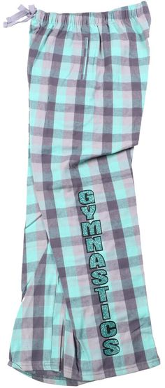 Take a look at these mint flannel pants. They have Gymnastics going down the leg in mint glitter vinyl with black vinyl outlining the letters. Gymnastics Clothes, Gymnastics Pictures, Gymnastics Leotards, Glitter Vinyl, Outline, Flannel, Cheer, Lounge, Mint