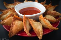 Fried Pork Wontons and Sweet Chili Dipping Sauce. Finger foods never tasted so crunchy and tasty -- 1227 Foster