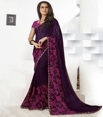 Wine Color Georgette Sarees For Casual Parties : Sharda Collection  YF-40873
