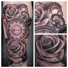 Pocket Watch and Roses Tattoo by Justin Burnout