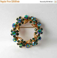 ON SALE Vintage Brooch pin Wreath style Blue by MargsMostlyVintage