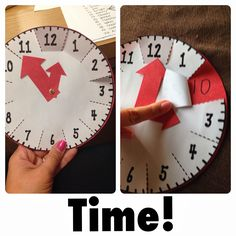 This tool is a handy arts project for students to keep at their desks. It is easy to make and effectively illustrates the relationship between minutes and hours. Since students can carry it around with them, it is an excellent tool for reinforcing number Teaching Time, Teaching Math, Teaching Clock, Math Classroom, Kindergarten Math, Preschool, Kindergarten Graduation, Math Resources, Math Activities