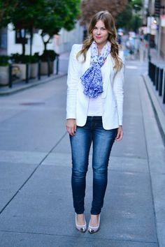 Britt+Whit: white blazer with denim
