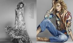 The Polish model wears a print maxi dress (L) and blouse with denim (R)