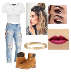 """""""❤️❤️❤️"""" by victoriamajors ❤ liked on Polyvore featuring Topshop, One Teaspoon, Cartier and Timberland"""