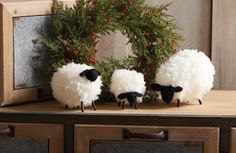 Decorative Sheep, Black Faced Sheep Decor, Wooly Sheep Decor