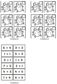 De kinderen schrijven het juiste aantal in het hokje, knippen alle plaatjes uit en plakken vervolgens de juiste som bij het plaatje.