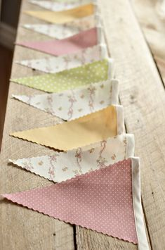 Vintage bunting - change to the colors of our party: grey, pale aqua, sage green, pale pink