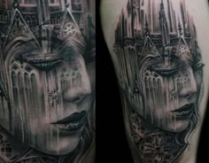 Black and gray tattoo gothic portrait