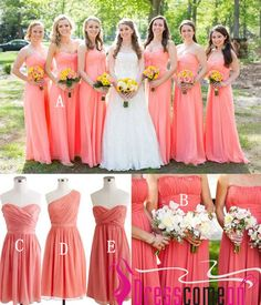 Coral Pink Bridesmaid Dresses Amazing A Line Strapless Chiffon Long Short Hot Bridesmaid Gown For Beach Wedding