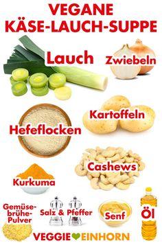Leckere vegane Käse Lauch Suppe mit Kartoffeln. Vegetarisch, ohne Hack. Gesunde Suppe zum Mittag, Abendessen oder als herzhafte Partysuppe. Einfache vegane Rezepte auf deutsch mit Video #VeggieEinhorn
