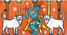 Saree Painting, Mural Painting, Fabric Painting, Pichwai Paintings, Indian Art Paintings, Simple Paintings, Krishna Painting, Krishna Art, Lord Krishna